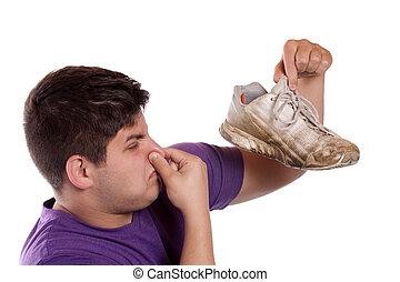 athlétique, malodorant, chaussure