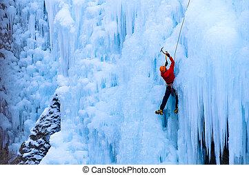 athlétique, manteau, uncomphagre, glace, gorge, escalade, mâle, rouges