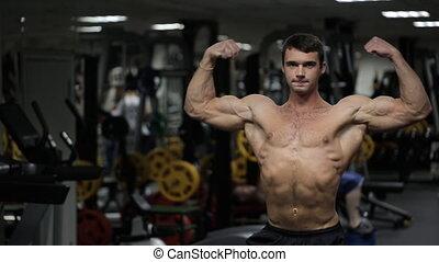 athlétique, physique, athlète, gym., poser, mâle