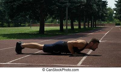 athlétique, piste, courant, pompes, sportif