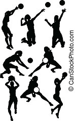 athlétique, silhouettes, poses, femme, volley-ball