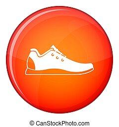 athlétique, style, icône, chaussure, plat