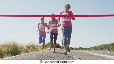 athlétisme, ligne, femmes, arrivant, finition