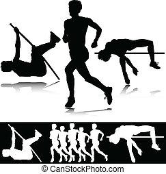 athlétisme, vecteur, sport, silhouettes