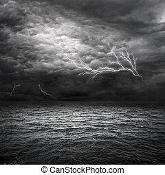 atlantique, orage, océan