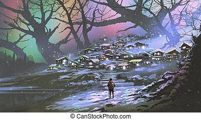 atmosphère, neige, coloré, village