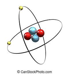 atome, 3d, hélium
