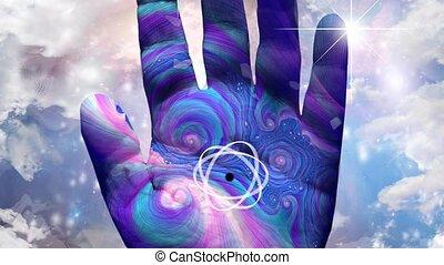 atome, main humaine, modèle