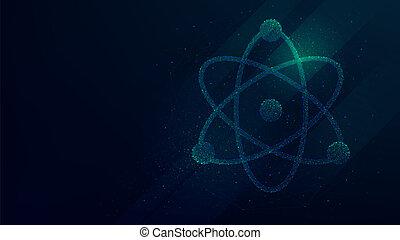 atome, néon, illustration, lumières, vecteur, modèle, technologie, futuriste