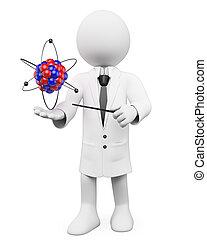 atome, physique, prof, gens., 3d, blanc