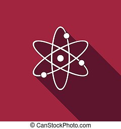 atome, shadow., long, icône