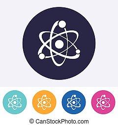 atome, unique, vecteur, icône, signe