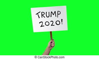 atout, donald, 2, tenu, vert, coups, haut, écran, signe, 2020