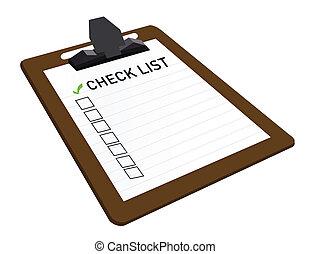 attaché, liste contrôle, presse-papiers