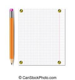 attaché, papier, isolé, boutons, feuille, template., cahier, réaliste, railler, épingle, vecteur, haut, crayon, doré