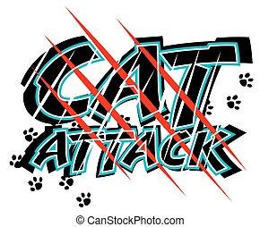 attaque, chat