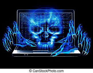 attaque, concept, pirate informatique