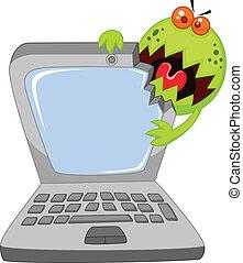 attaquer, dessin animé, ordinateur portable, virus