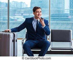 attente, avion, business, aéroport, cla, sien, homme affaires