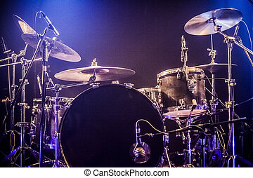 attente, drumkit, étape, vide, musiciens