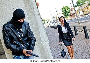 attente, masque, fusil, bandit, victime