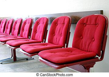 attente, rang, salle, rouges, sièges