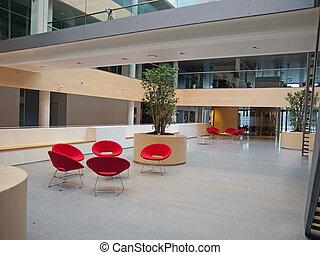 attente, salle moderne, réception