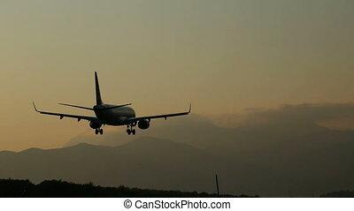 atterrissage avion, levers de soleil