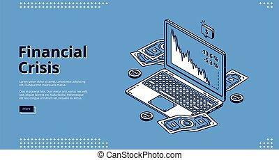 atterrissage, crise, ordinateur portable, page, financier, icône