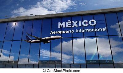 atterrissage, terminal, mexique, reflété, avion