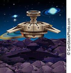 atterrissage, vaisseau spatial, surface, lune