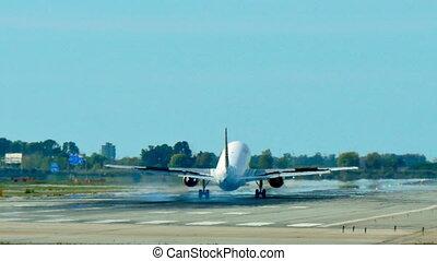 atterrissage, vueling, lignes aériennes, jet, approchant, avion