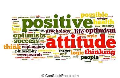 attitude positive, concept, étiquette, nuage