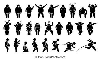 attitudes, fondamental, figure, pictogram., homme, poses, graisse, excès poids, crosse, caractère