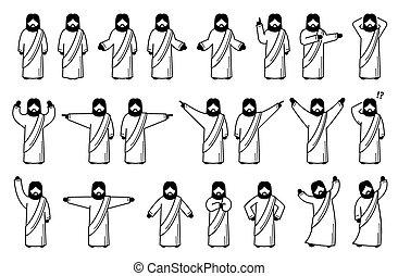 attitudes, poses, christ, actions., jésus, fondamental, debout