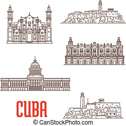 attraction, cuba, architecture, touriste, icônes, voyage