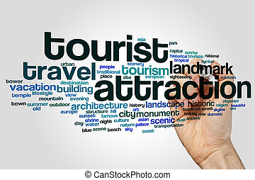 attraction, mot, touriste, nuage