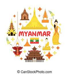 attraction, voyage, myanmar, étiquette