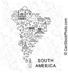 attractions., illustration., icônes, affiche, voyage, map., vecteur, inspirationnel, mondiale, animaux, ligne, amérique, sud, tourisme