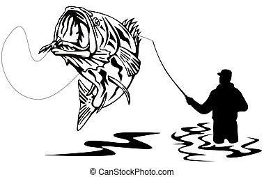 attraper, pêcheur, basse