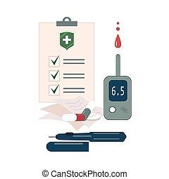 attributes, vecteur, assurance, illustration, liste, chèque, santé