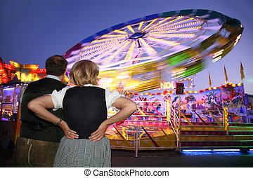 attrraction, regard, couple, parc, nuit, vue