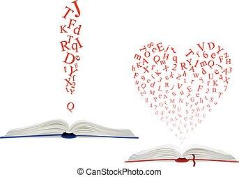 au-dessus, alphabet, livre, lettre, ouvert, nuage