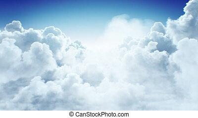 au-dessus, cieux, non, nuages, ultra, voler, cumulus, fait boucle, animation, lumière du jour, 4k, seamless., 3840x2160, 3d, sun., interminable, hd, beau