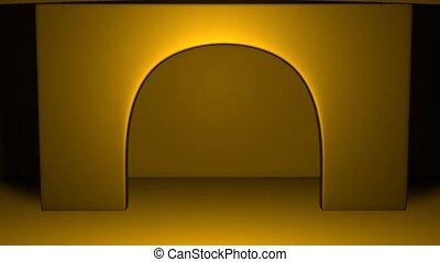 au-dessus, espace, portail, ton, doré, inscription, scène, education., arc, éclairé, 3d, apparaît, au-dessous, mouvements