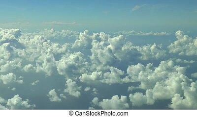 au-dessus, voler, footage., nuages, aérien
