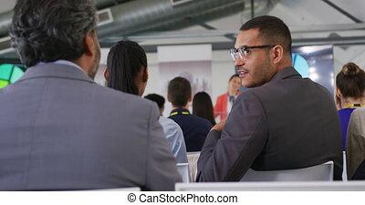 audience, conversation, présentation, business