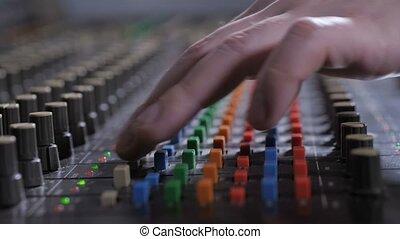 audio, ajustement, enregistrement, producteur, console, son
