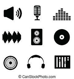 audio, musique sonore, icônes