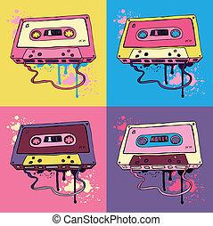 audio, retro, bande cassettee